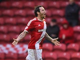 Lee Tomlin of Middlesbrough celebrates as he scores their first goal during the Sky Bet Championship Playoff semi final second leg match between Middlesbrough and Brentford at the Riverside Stadium on May 15, 2015