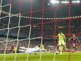 Barcelona's Brazilian forward Neymar da Silva Santos Junior (2ndR) scores past Bayern Munich's goalkeeper Manuel Neuer (3d R) during the UEFA Champions League football match semi final FC Bayern Munich vs FC Barcelona in Munich on May 12, 2015