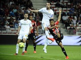 Nices French defender Jordan Amavi scores a goal during the French L1 football match between OGC Nice and RC Lens on May 16, 2015