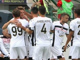 Franco Vazquez of Palermo celebrated the goal 0-1 during the Serie A match between Cagliari Calcio and US Citta di Palermo at Stadio Sant'Elia on May 17, 2015