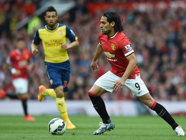 Manchester United striker Radamel Falcao with the ball during the Premier League match against Arsenal on May 17, 2015