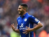 Riyad Mahrez celebrates scoring for Leicester on May 9, 2015