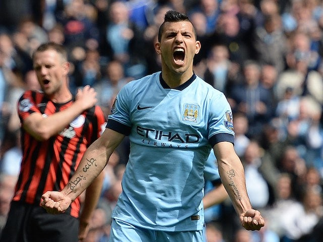 Sergio Aguero celebrates scoring for Manchester City on May 10, 2015