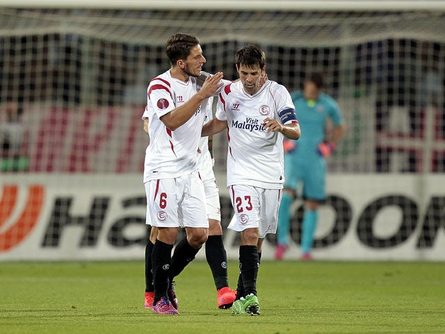 Daniel Carrico #6 of FC Sevilla celebrates after scoring a goal during the UEFA Europa League Semi Final match between ACF Fiorentina and FC Sevilla on May 14, 2015