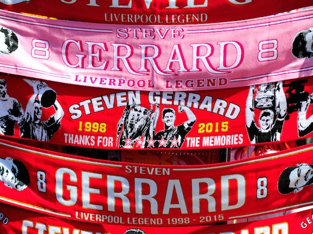 Steven Gerrard of Liverpool scraves are sold ahead of his final Barclays Premier League match at Anfield, between Liverpool and Crystal Palace at Anfield on May 16, 2015