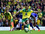 Wes Hoolahan of Norwich City scores their first goal from the penalty spot during the Sky Bet Championship Playoff semi final second leg match between Norwich City and Ipswich Town at Carrow Road on May 16, 2015