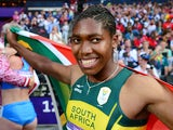 South Africa's Caster Semenya silver medalist celebrates after the women's 800m final at the athletics event of the London 2012 Olympic Games on August 11, 2012