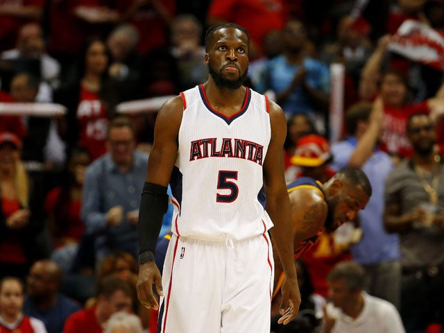 b60520249a9a ... #5 of the Atlanta Hawks reacts in the first quarter against the  Cleveland Cavaliers during Game One of the Eastern Conference Finals of the  2015 NBA ...