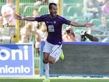 Alberto Gilardino of Fiorentina celebrates after scoring his team's second goal during the Serie A match between US Citta di Palermo and ACF Fiorentina at Stadio Renzo Barbera on May 24, 2015