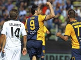 Luca Toni of Hellas Verona FC celebrates his second goal during the Serie A match between Parma FC and Hellas Verona FC at Stadio Ennio Tardini on May 24, 2015