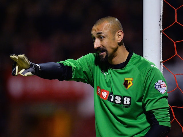 Heurelho Gomes of Watford makes a point during the Sky Bet Championship match between Brentford and Watford at Griffin Park on February 10, 2015