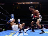 James DeGale knocks down Andre Dirrell during their super middleweight fight at Agganis Arena at Boston University on May 23, 2015