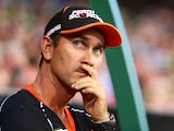 Scorchers coach Justin Langer looks on during the Big Bash League match between the Melbourne Stars and Perth Scorchers at Melbourne Cricket Ground on January 21, 2015