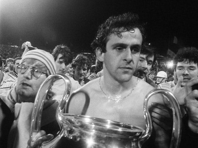 A thoughtful Michel Platini holds the cup, on May 29, 1985
