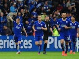 Jamie Vardy of Leicester City celebrates scoring his team's first goal during the Barclays Premier League match between Leicester City and Queens Park Rangers at The King Power Stadium on May 24, 2015