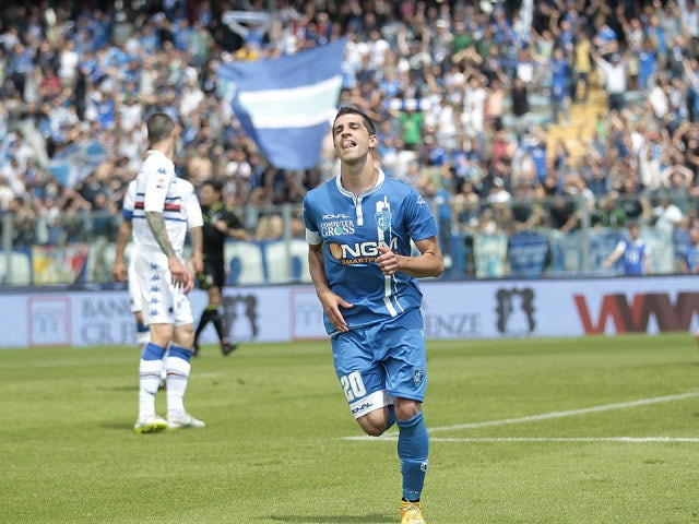 Manuel Pucciarelli of Empoli FC celebrates after scoring a goal during the Serie A match between Empoli FC and UC Sampdoria at Stadio Carlo Castellani on May 24, 2015