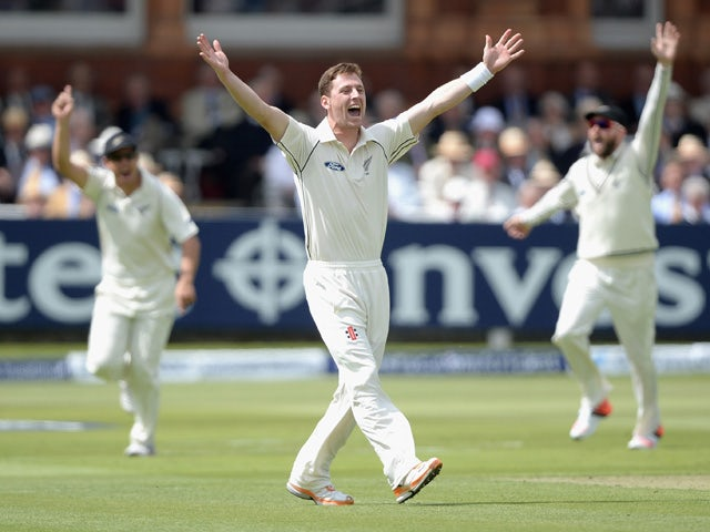 Matt Henry of New Zealand successfully appeals for the wicket of England captain Alastair Cook during day one of 1st Investec Test match between England and New Zealand at Lord's Cricket Ground on May 21, 2015