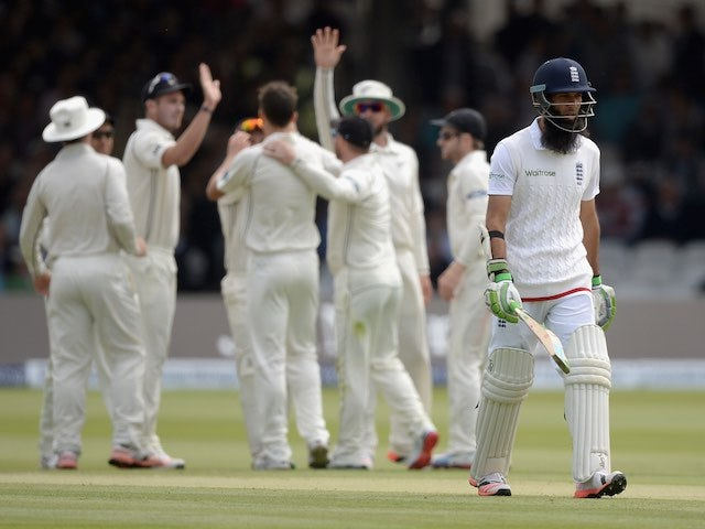 England's Moeen Ali is dismissed on day two of the First Test with New Zealand on May 22, 2015