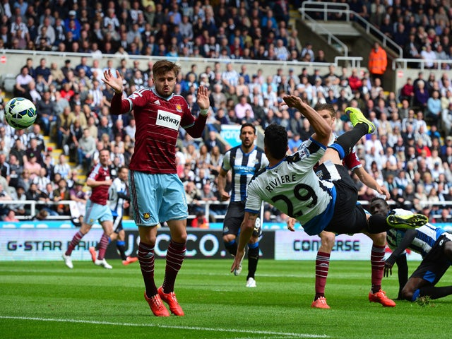 Emmanuel Riviere of Newcastle United makes an overhead kick during the Barclays Premier League match between Newcastle United and West Ham United at St James' Park on May 24, 2015