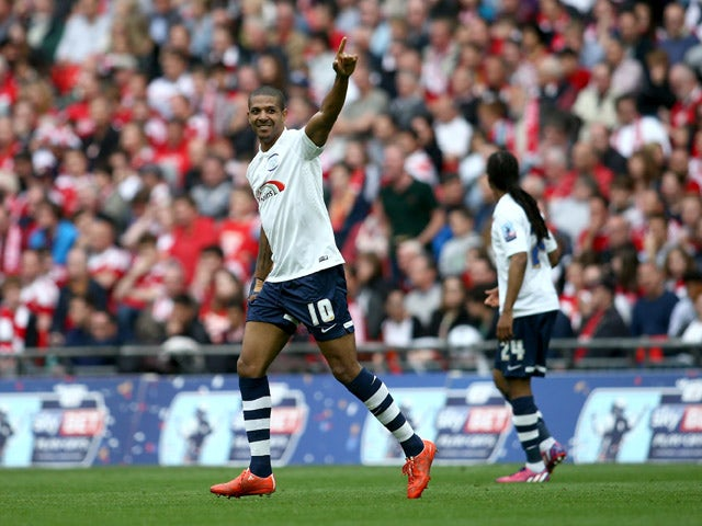 Jermaine Beckford of Preston North End celebrates after scoring his hat trick during the League One play-off final between Preston North End and Swindon Town at Wembley Stadium on May 24, 2015