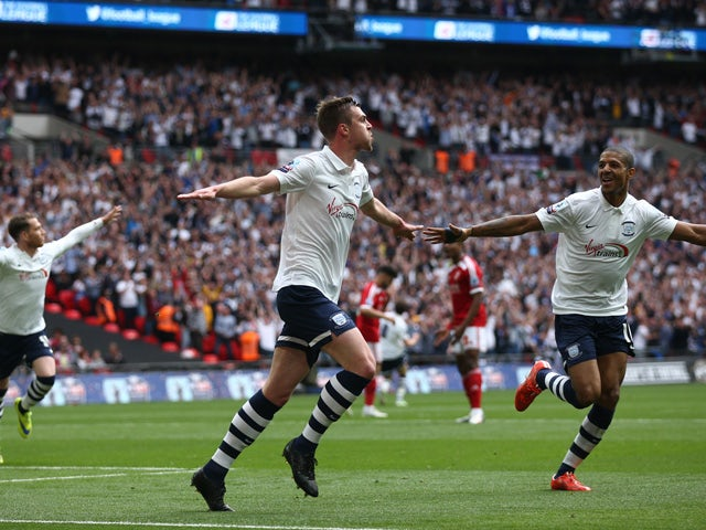 Paul Huntington of Preston North End celebrates after scoring during the League One play-off final between Preston North End and Swindon Town at Wembley Stadium on May 24, 2015