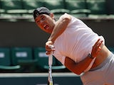 Rafael Nadal takes part in a training session ahead of the French Open on May 22, 2015