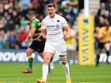 Owen Farrell of Sarasens celebreate scoring a late penalty during the Aviva Premiership Play Off Semi Final between Northampton Saints and Saracens at Franklin's Gardens on May 23, 2015
