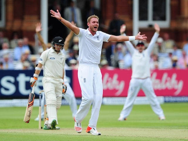 England's Stuart Broad appeals for the wicket of New Zealand's Tom Latham on day two of the First Test on May 22, 2015