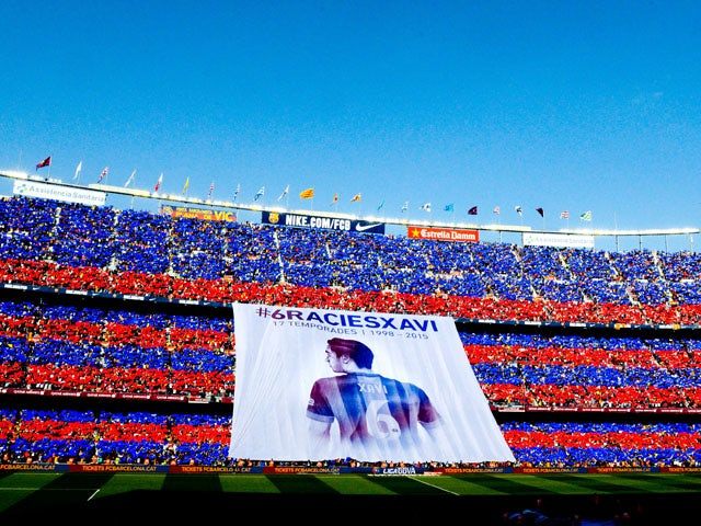 FC Barcelona fans display a huge banner tribute to Xavi Hernanez prior to the La Liga match between FC Barcelona and RC Deportivo de la Coruna at Camp Nou on May 23, 2015