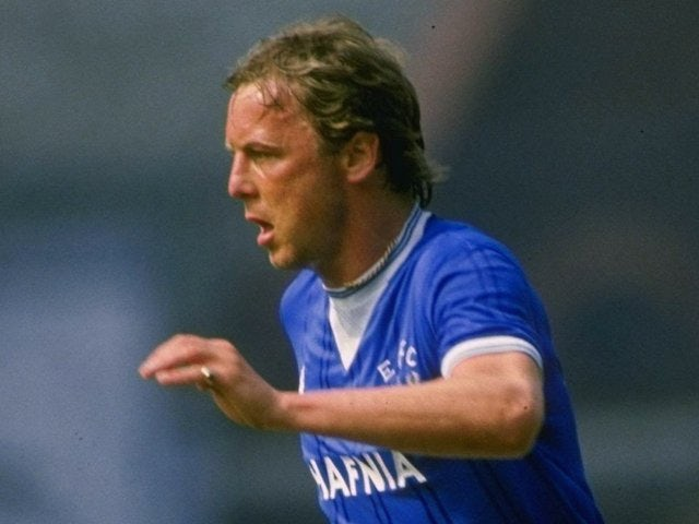 Andy King of Everton in action during a league division one match at Goodison Park on January 1, 1984