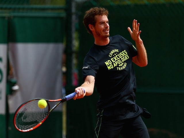 Andy Murray during a practice session at the French Open on May 29, 2015