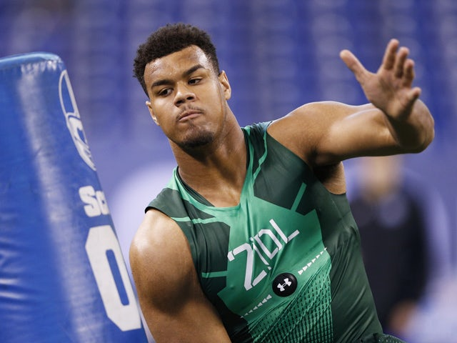 Defensive lineman Arik Armstead of Oregon competes during the 2015 NFL Scouting Combine at Lucas Oil Stadium on February 22, 2015