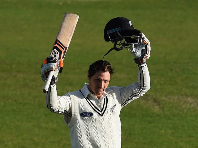 BJ Watling of New Zealand celebrates scoring a century during day three of the 2nd Investec Test Match between England and New Zealand at Headingley on May 31, 2015