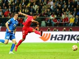 Carlos Bacca of Sevilla scores his team's third goal during the UEFA Europa League Final match between FC Dnipro Dnipropetrovsk and FC Sevilla on May 27, 2015