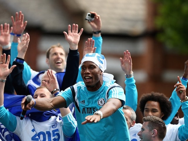 Didier Drogba during Chelsea's Premier League victory parade on May 25, 2015