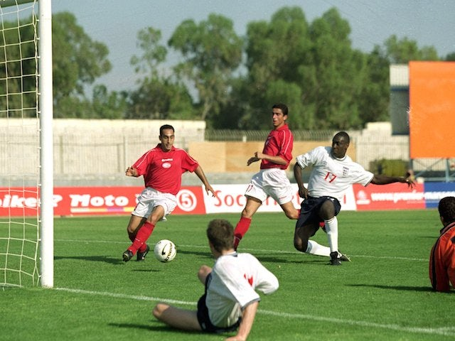 Emile Heskey scores the winner for England during the International Friendly match against Malta at the National Stadium in Ta'' Qali on June 3, 2000
