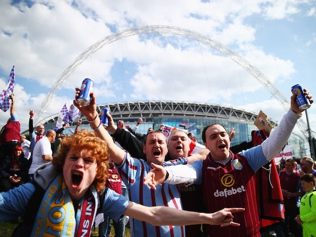 Aston Villa supporters outside Wembley Stadium ahead of the FA Cup final on May 30, 2015