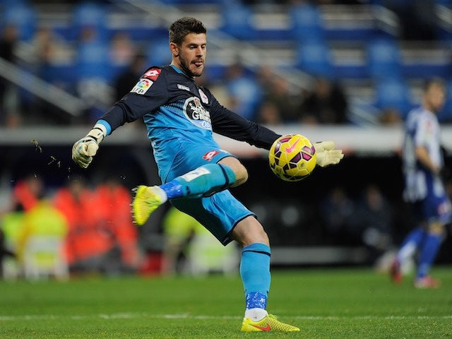 Deportivo goalkeeper Fabricio Agosto 'Fabri' during the La Liga match against Real Madrid on February 15, 2015
