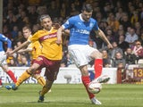 Haris Vuckic of Rangers competes with Keith Lasley of Motherwell during the Scottish Premiership play-off final 2nd leg between Motherwell and Rangers at Fir Park on May 31, 2015
