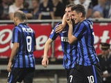 Marcelo Brozovic of FC Internazionale Milano celebrates his goal with his team-mate Mateo Kovacic during the Serie A match between FC Internazionale Milano and Empoli FC at Stadio Giuseppe Meazza on May 31, 2015