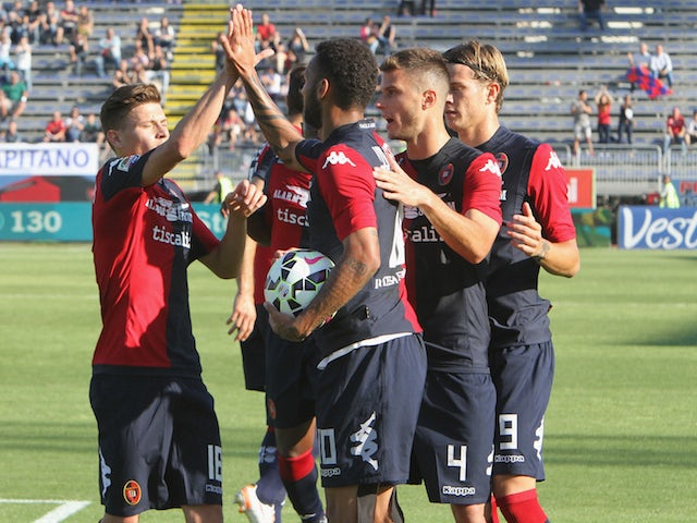 Joao Pedro of Cagliari celebrated the goal 2-0 during the Serie A match between Cagliari Calcio and Udinese Calcio at Stadio Sant'Elia on May 31, 2015