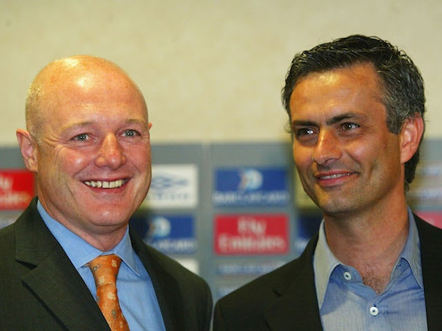 Chelsea Manager Jose Mourinho with Chief Executive Peter Kenyon during the Chelsea press conference at Stamford Bridge on June 2, 2004