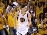 Klay Thompson #11 of the Golden State Warriors reacts in the first half while taking on the Houston Rockets during game five of the Western Conference Finals of the 2015 NBA Playoffs at ORACLE Arena on May 27, 2015