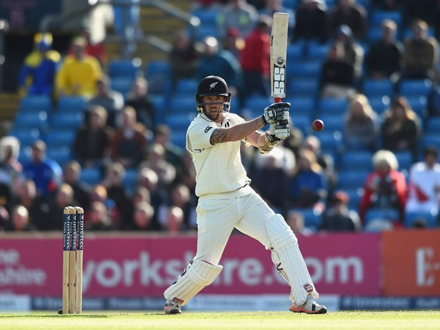 Luke Ronchi of New Zealand smashes the ball to the boundary during day one of the 2nd Investec Test Match between England and New Zealand at Headingley on May 29, 2015