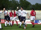 Martin Keown celebrates after scoring the opening goal fo England during the England v Malta friendly internatioal at the Ta''Qali National Stadium