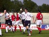 Martin Keown celebrates after scoring the opening goal fo England during the England v Malta friendly internatioal at the Ta''Qali National Stadium