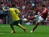 Middlesbrough's Belgian striker Jelle Vossen hits a shot that hits the Norwich City crossbar during the English Championship play off final football match between Middlesbrough and Norwich City at Wembley Stadium in London on May 25, 2015
