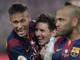 Neymar and Lionel Messi of Barcelona celebrate winning the Copa del Rey on May 30, 2015