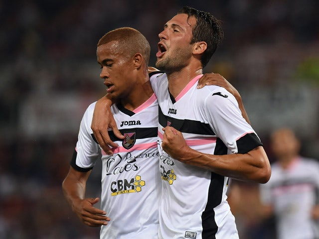 Franco Vazquez of Palermo celebrates after scoring a penalty (0-1) during the Serie A match between AS Roma and US Citta di Palermo at Stadio Olimpico on May 31, 2015