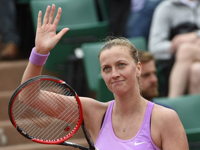 Czech Republic's Petra Kvitova reacts after winning her match against Spain's Silvia Soler Espinosa during the women's second round of the Roland Garros 2015 French Tennis Open in Paris on May 28, 2015